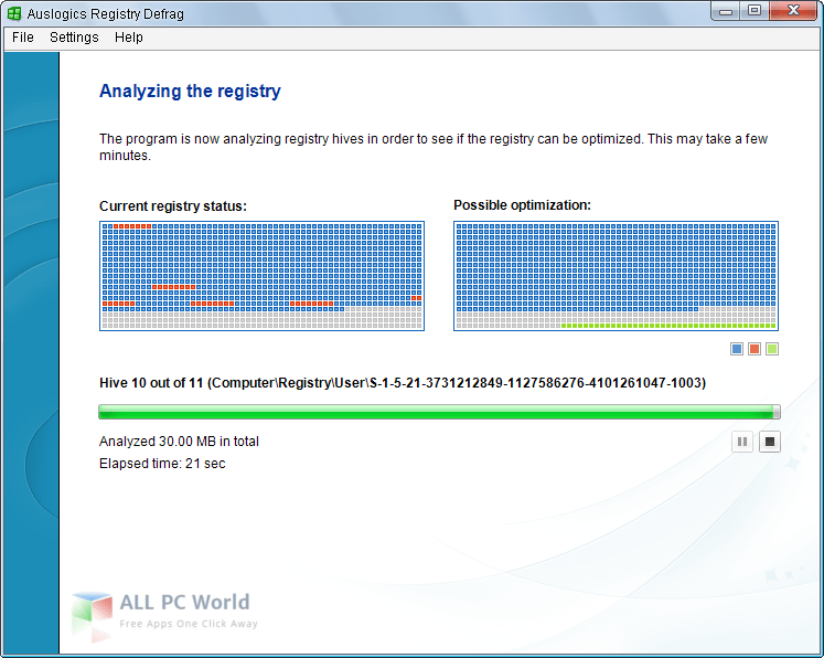Auslogics Registry Defrag 10.1.1.0 user interface