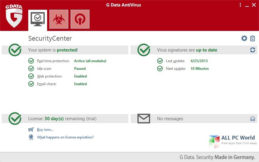 G DATA AntiVirus User Interface
