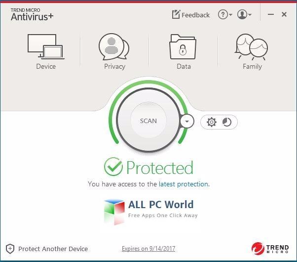 Trend Micro Antivirus+ 2017 User Interface