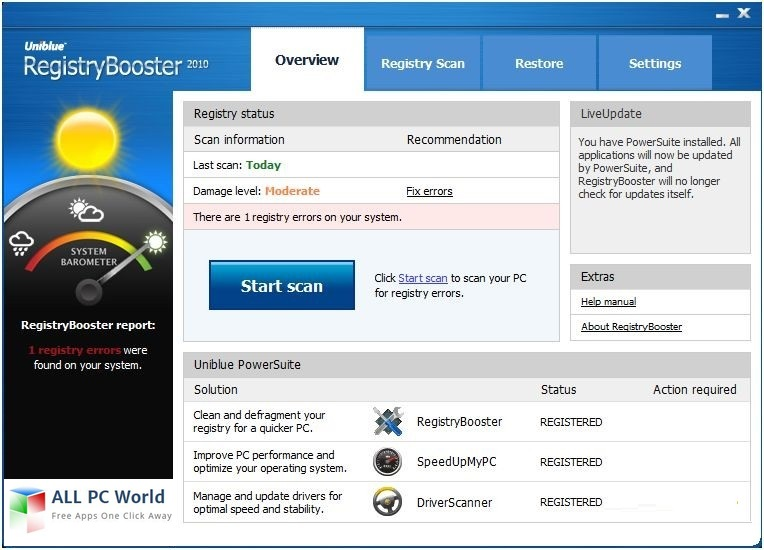 Uniblue Registry Booster 2017 6.2 User Interface