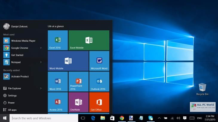 Microsoft Windows 10 Pro X64 RS3 incl Office 2016 Review