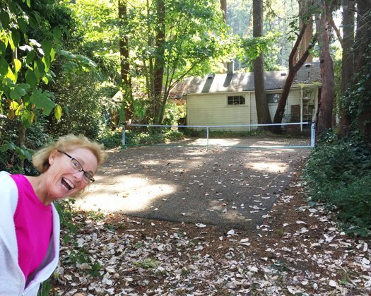 Alex at the original/first pickleball court - the Pritchard's court.