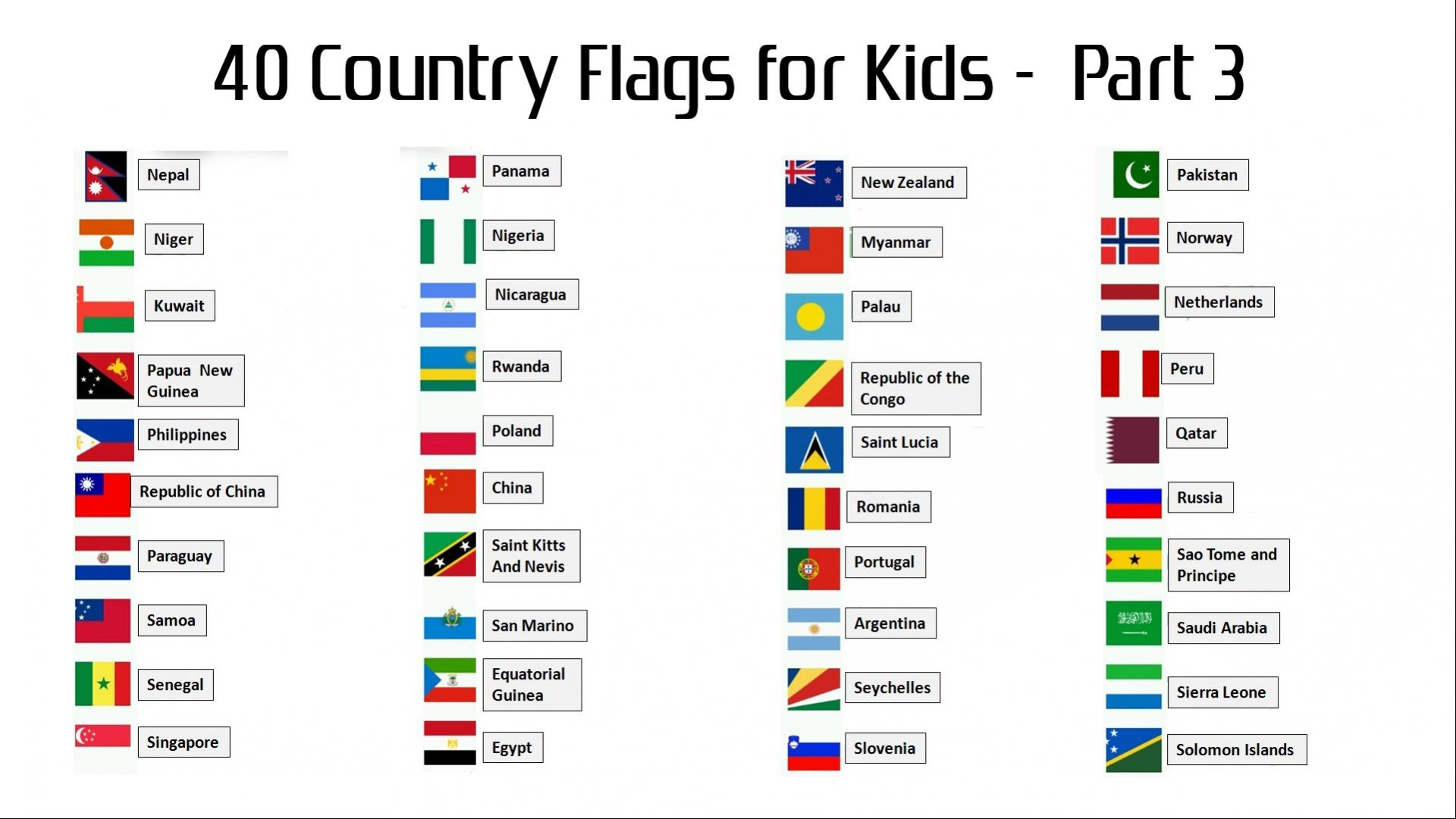 40 Country Flags With Names For Kids