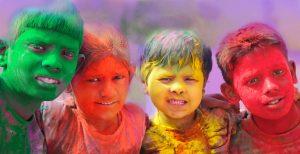 Holi Photo Wallpaper - Annual Holi celebrations Group of kids playing Holi in India