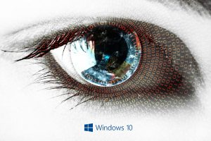 Windows 10 Wallpaper with Abstract Binary Numbers on Eye