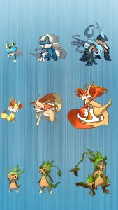 Three character evolution of Pokemon on iPhone Background