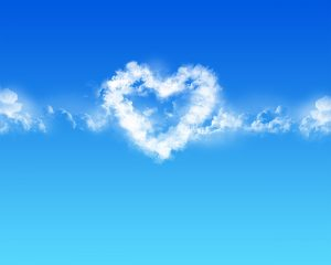 Clear Blue Sky and Heart Shaped Cloud 5 of 57