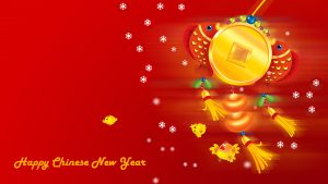 Free Download of Imlek Wallpaper for Chinese New Year with Cartoon and Red Background