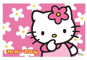 Hello Kitty Face Wallpaper with floral pink and white background