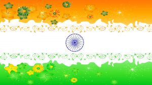 Flags of Countries - Three colors as Flags of India Symbol - floral ornaments
