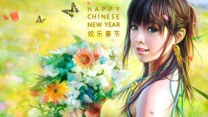 Beautiful Chinese Girl Painting Wallpaper for Chinese New Year Greeting