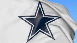 Dallas Cowboys Logo Wallpaper on Fluttering White Flag