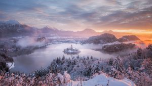 Natural Images HD 1080p Download with Snowy Condition At Bled Lake