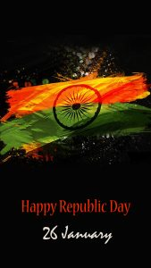Abstract India Flag with Dark Background for Republic Day for Mobile Phone