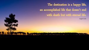 Inspirational quotes about life and happiness by Angelo Scola with picture of nature silhouette