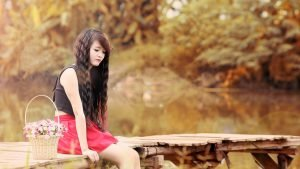 Girl in Nature Wallpaper with Women Near Lake