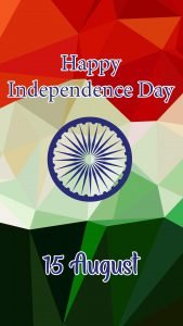 Happy Independence Day India Picture for Mobile Phones with Abstract Polygon Flag