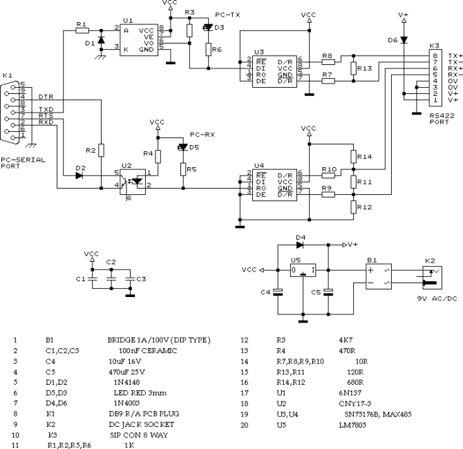 rs232 to rs422 · allpinouts