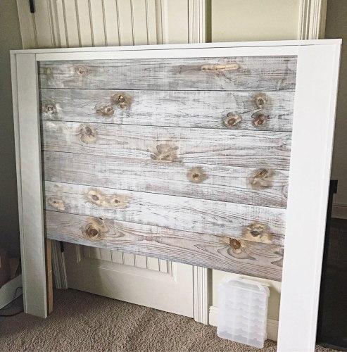 natural weathered wood stain and whitewash shiplap headboard