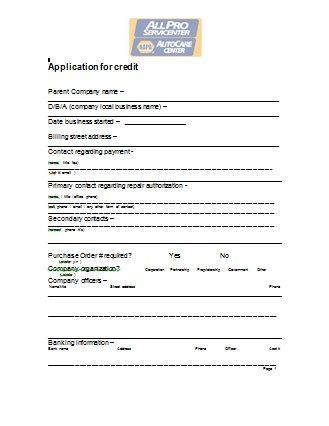 fleet credit application