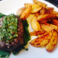 Chimichurri Steak with Paprika Wedges