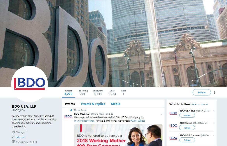 BDO USA LLP Twitter account screenshot