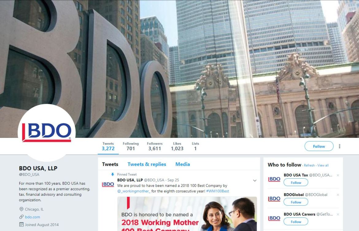 BDO USA LLP Twitter account screenshot