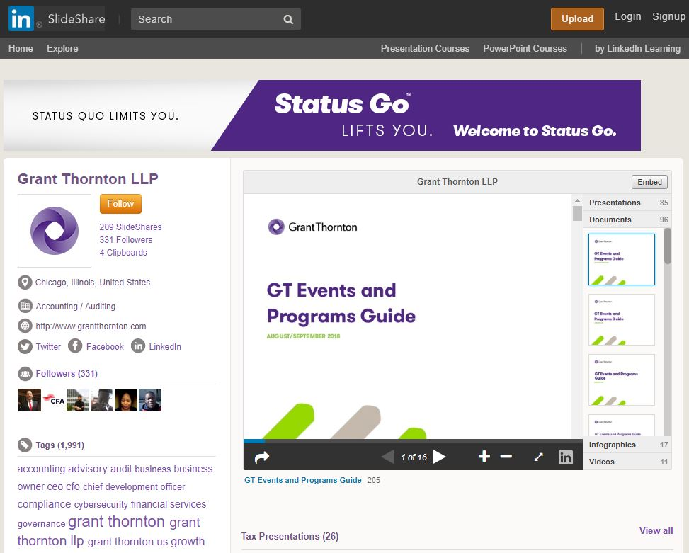 Grant Thornton Slideshare screenshot