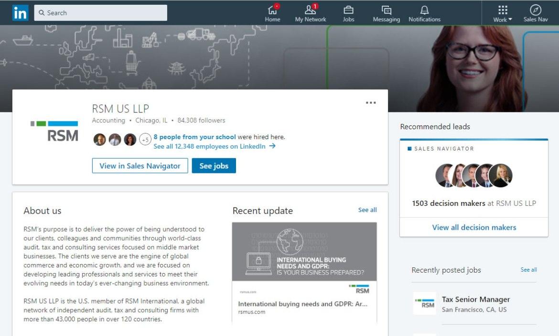 RSM US LLP LinkedIn screenshot