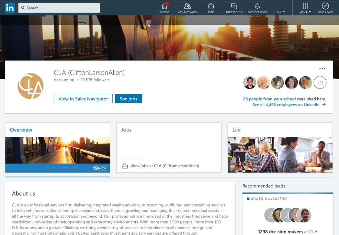 CliftonLarsonAllen LLP LinkedIn screenshot