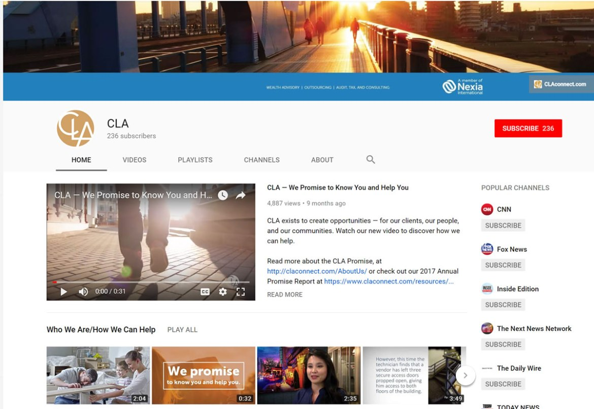 CliftonLarsonAllen LLP YouTube screenshot