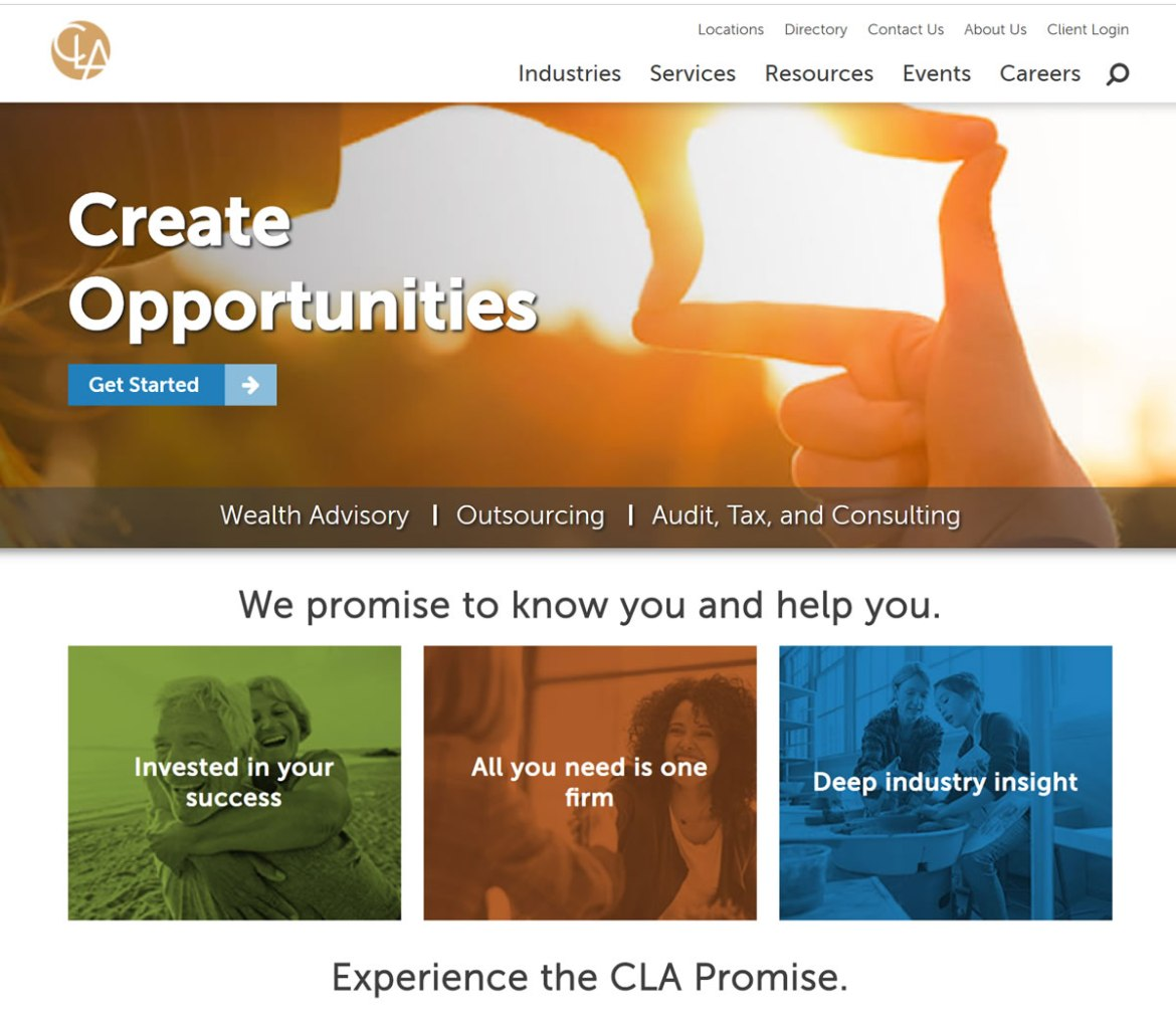CliftonLarsonAllen LLP website screenshot