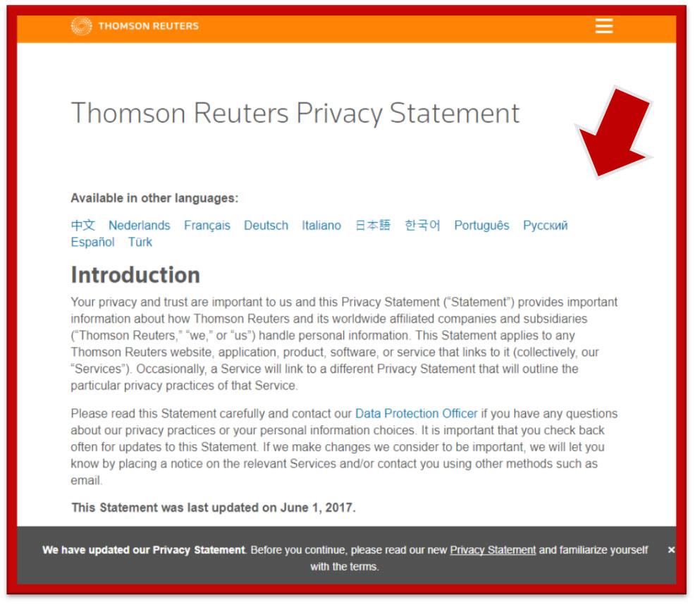 Thomson Reuters Privacy Policy Statement Feb 2018
