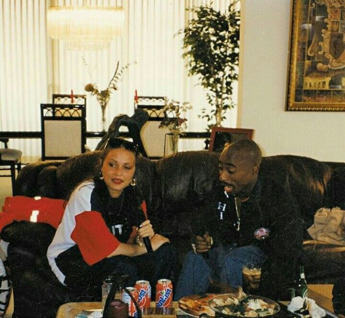 """Angie Martinez On Unreleased 2Pac Interviews: """"I Was Afraid That Someone Would Die"""" Tupac and Martinez pic"""