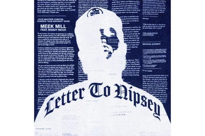 Meek Mill Roddy Ricch Letter to Nipsey single image