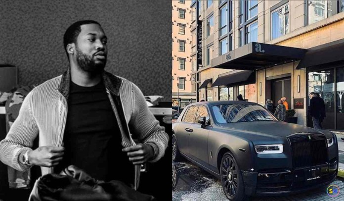 Pic collage of Meek Mill and his Rolls Royce