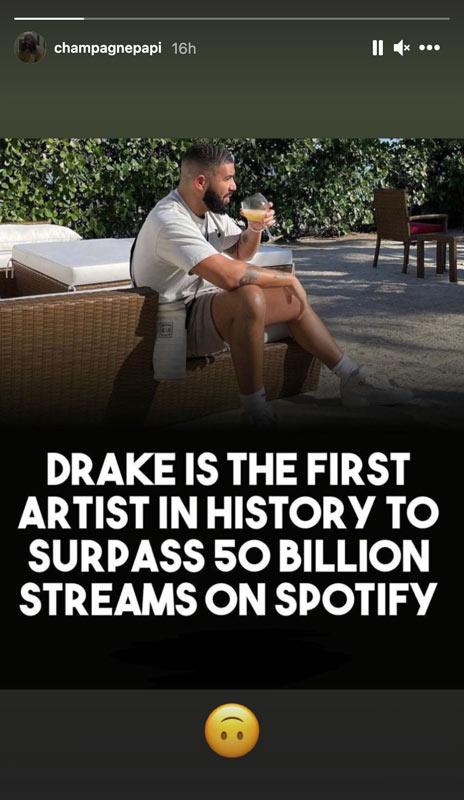 Drake story screenshot image 50 billion Spotify streams