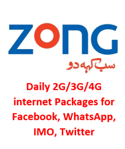 Zong Daily Social Package for Facebook, WhatsApp, Twitter