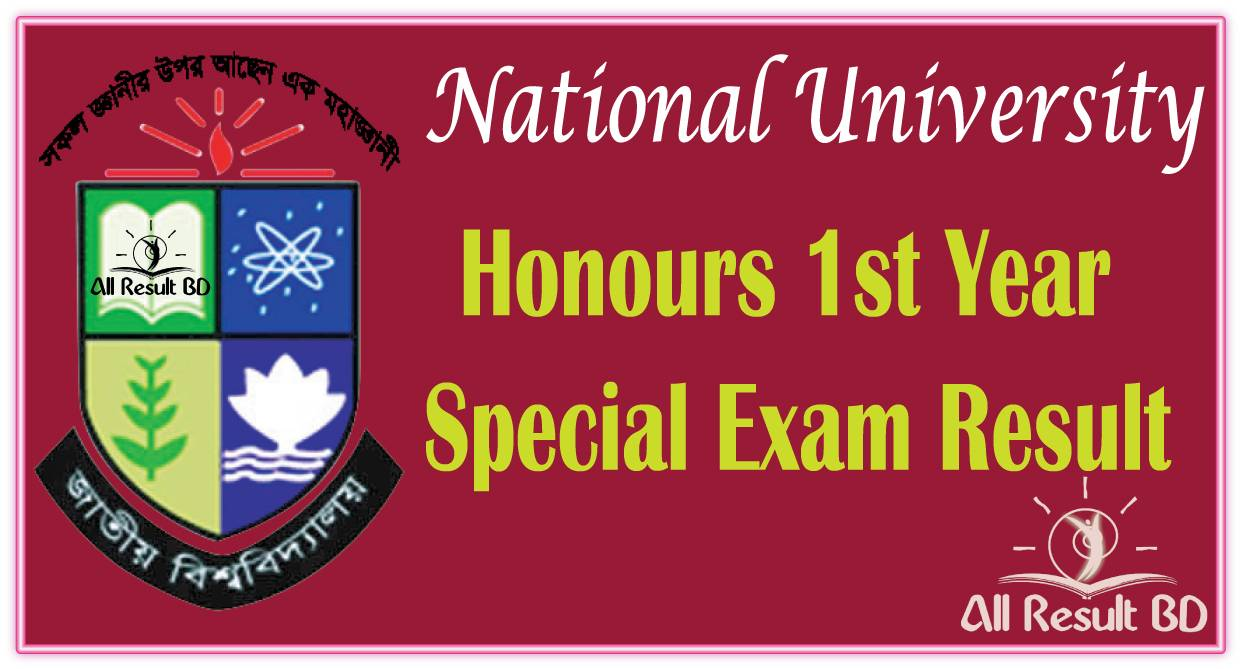 Honours 1st Year Special Exam Result 2017 Session 2016 NU.EDU.BD