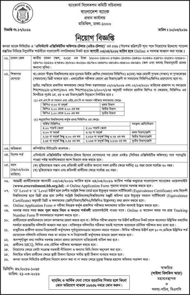 Janata Bank Assistant Executive Teller job circular