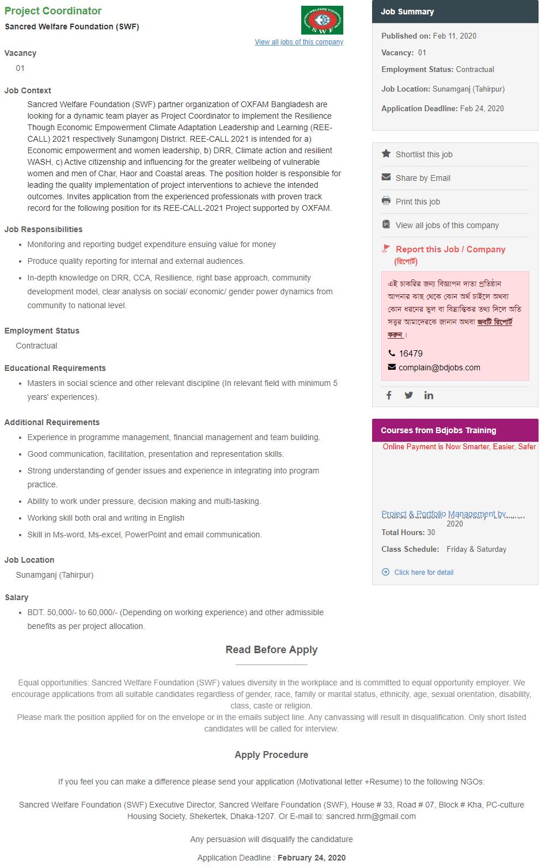 Sancred Welfare Foundation Job Circular 2020