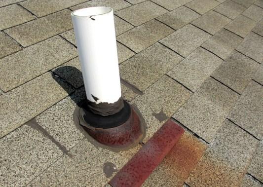 Common roof leak repairs vent pipe repairs all roofing - Roof air vent leaking water ...