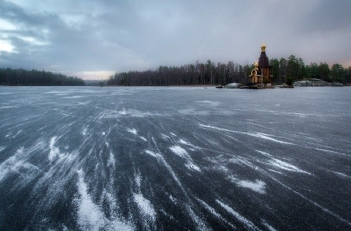 Frozen with ice river