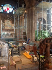 Photo of scaffolding in church