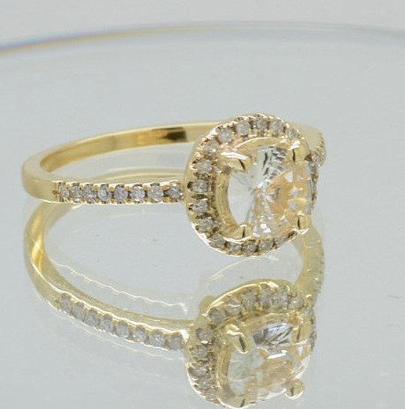 08 Ct Light Yellow Sapphire With Diamonds Yellow Gold Ring 308w