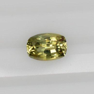 Yellow greenish cushion sapphire