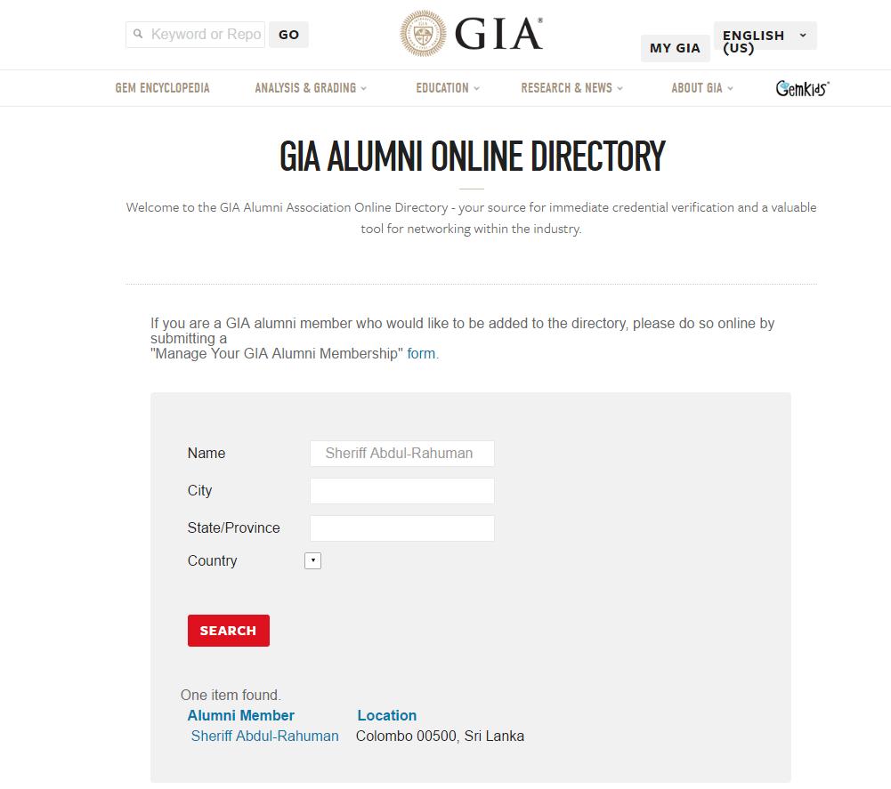 GIA Alumni member