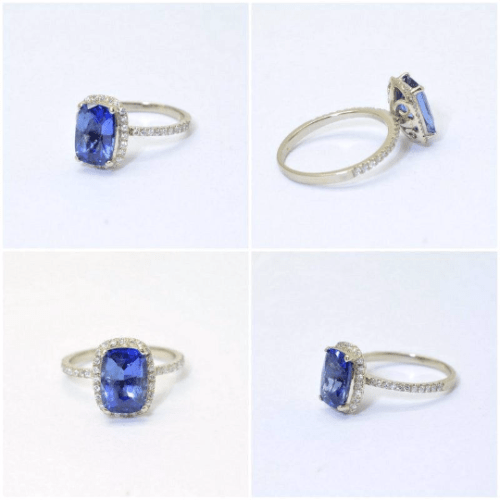 2ct Blue sapphire engagement ring
