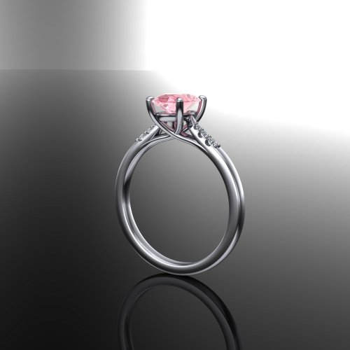 Solitaire sapphire engagement ring, peach sapphire wedding ring gold ring platinum ring