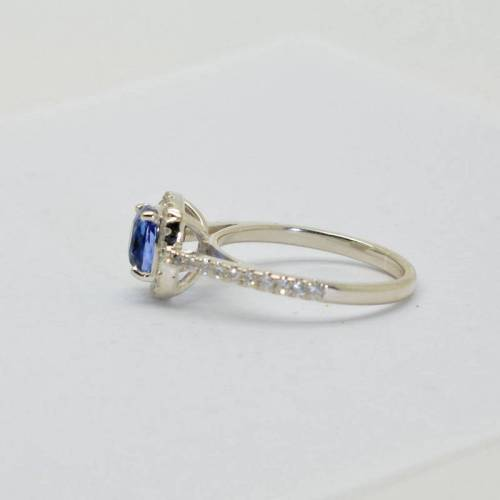 1.53 ct unheated natural cushion blue sapphire Silver engagement ring-4